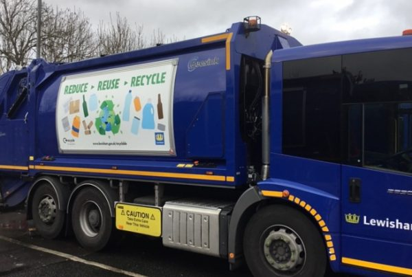 Changeable graphics displaying recycling messaging